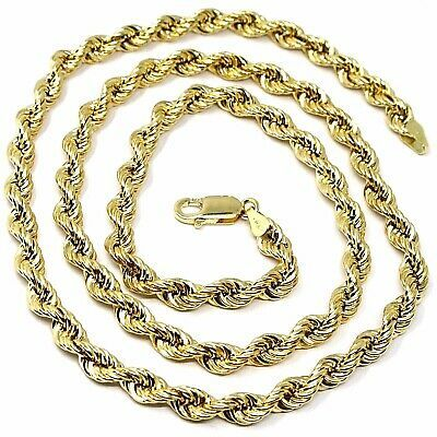 """18K YELLOW GOLD CHAIN NECKLACE 6 MM BIG BRAID ROPE LINK, 19.70"""", MADE IN ITALY"""