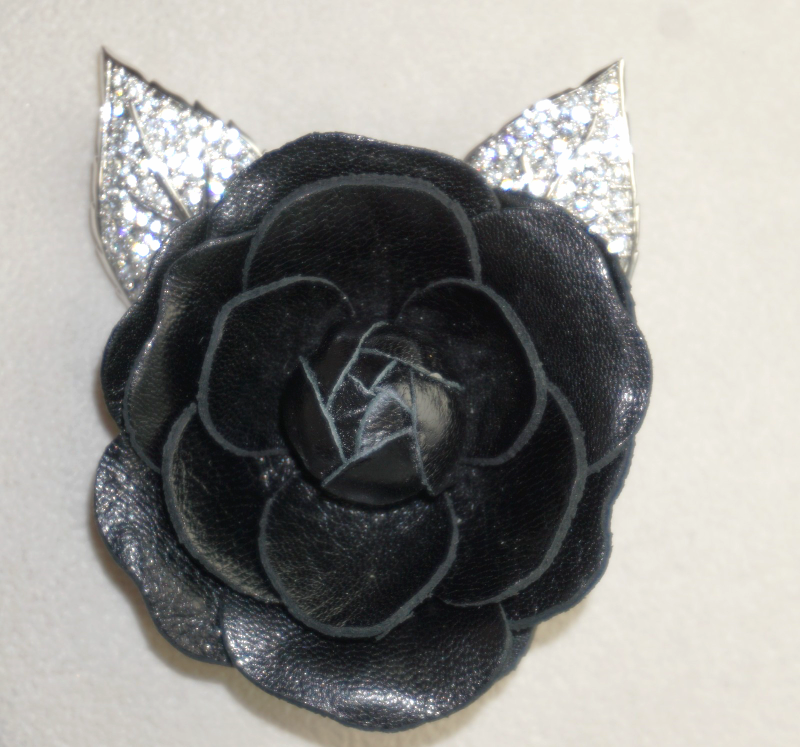 Primary image for Swarovski Crystal and  Black Leather Rose Mourning Brooch