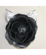 Swarovski Crystal and  Black Leather Rose Mourning Brooch - $84.36
