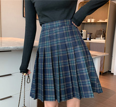 Women Knee Length Plaid Skirt Plus Size Knee Length Full Pleated PLAID SKIRTS image 6