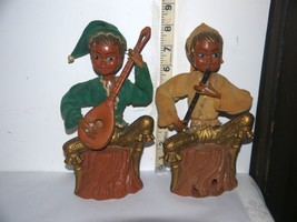 Vintage Set of 2 Plastic Banks Tree Stumps w/Pixie's/Elf  w/InstrumentsU... - $5.54