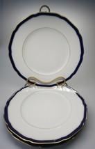 "Set of 3 Hutschenreuther SCARBOROUGH Dinner  Plates 10.5"" EUC Cobalt Blue&Gold - $92.99"