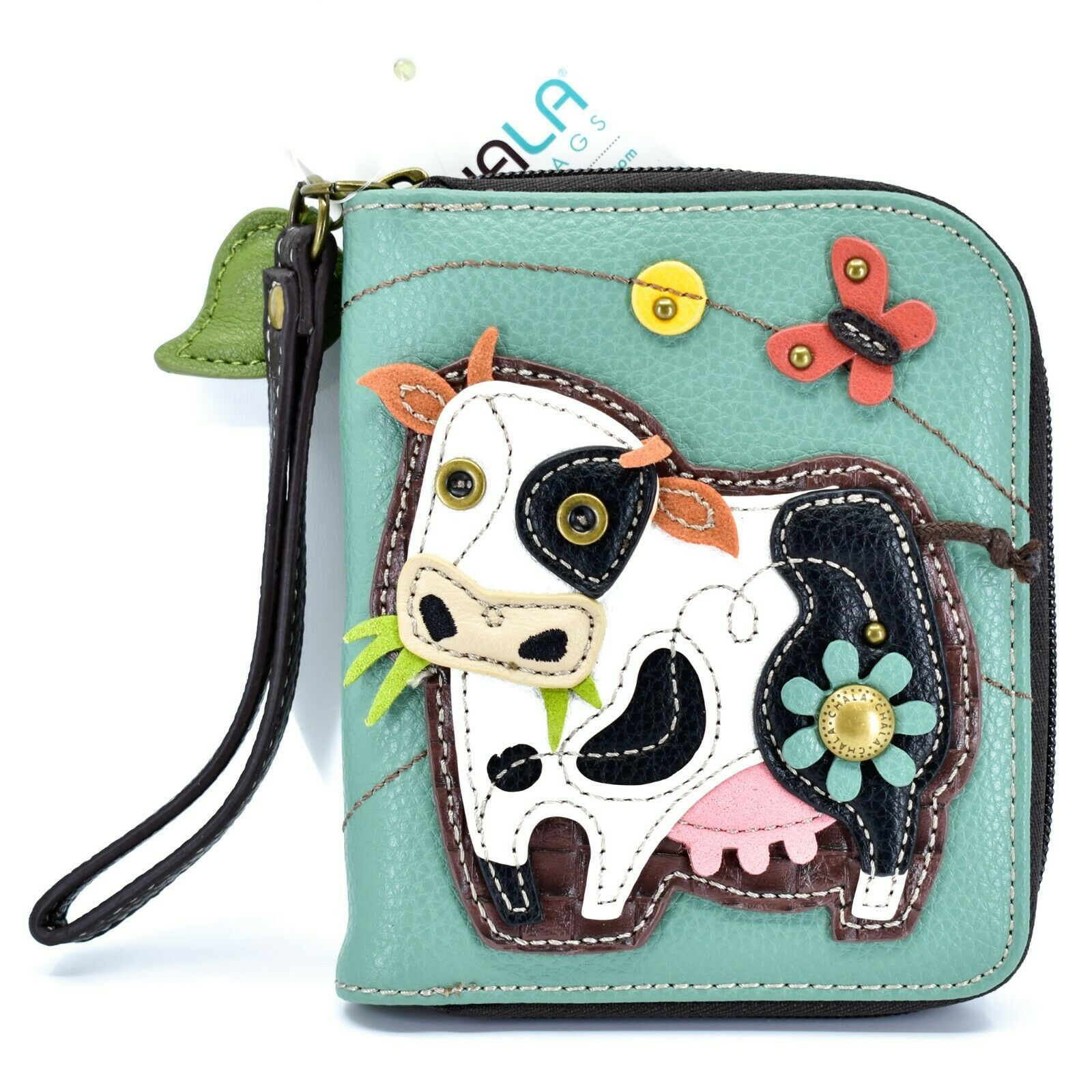 Chala Handbags Faux Leather Whimsical Cow & Butterfly Zip Around Wristlet Wallet