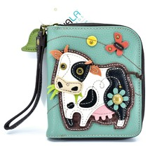 Chala Handbags Faux Leather Whimsical Cow & Butterfly Zip Around Wristlet Wallet image 1