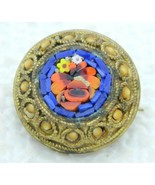 Antique Italy Italie Gold Toned Blue Red Micro Mosaic Flowers Glass Pin ... - $123.75