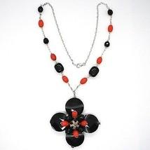 Halskette Silber 925, Achat Disco Facettiert, Onyx, Koralle, Blume Anhänger image 2