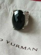 David Yurman Sterling Silver 26x16mm Black Onyx & Diamonds Oval Ring Sz 6.5 - $485.65