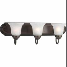 Progress Lighting 3-Light Antique Bronze Vanity Alabaster Etched Glass p... - $29.69