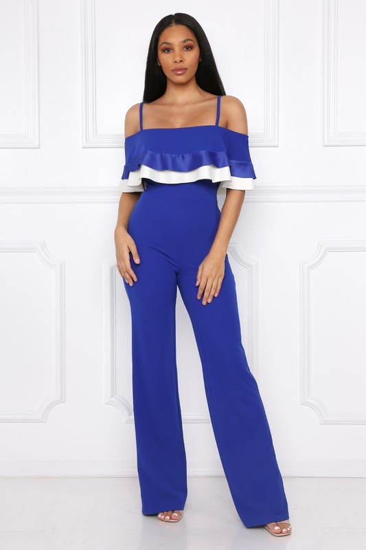 Flirty Royal Blue Party Jumpsuit, Off Shoulder, Ruffled Bodice, S, M or L