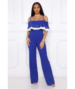 Flirty Royal Blue Party Jumpsuit, Off Shoulder, Ruffled Bodice, S, M or L - £29.31 GBP