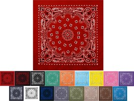 "Trainmen Paisley 22"" Bandana Cotton Biker Sport Head Wrap Floral Design ... - $7.99"