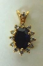 Vintage 10K Yellow Gold Pendant W/ Dark Blue Stone & Diamond Chip 1.5g E2217 - £110.74 GBP