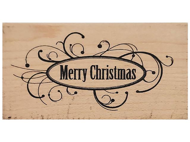 Inkadinkado Merry Christmas Wood Mounted Rubber Stamp #707
