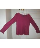 GAP Kids Girl T-shirt Tee Sz S 6 7 Long Sleeve Pleated  Hot Pink Cotton ... - $14.84