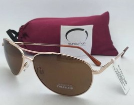 New SUNCLOUD POLARIZED OPTICS Sunglasses PATROL Gold Aviator Frame w/ Brown Lens