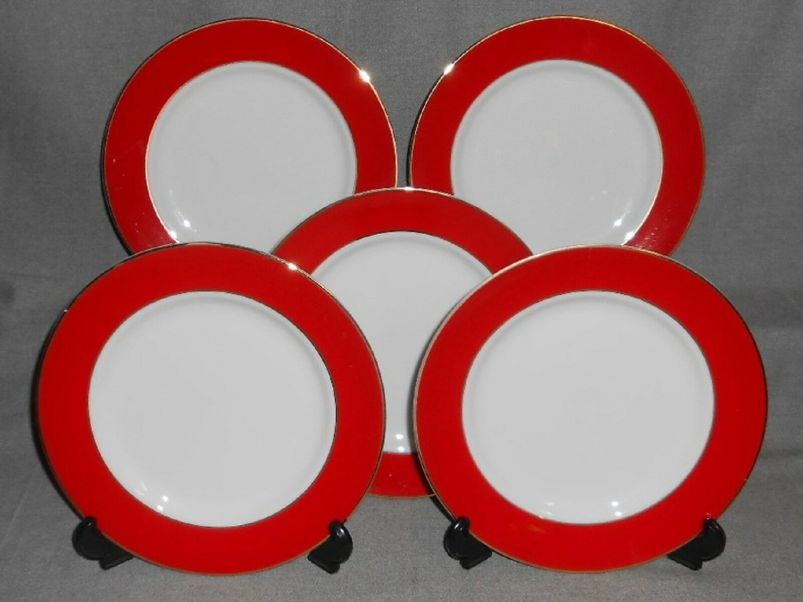 Primary image for Set (5) Fitz & Floyd ADIRONDACK RED PATTERN Salad Plates HOLIDAY - CHRISTMAS