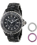 Peugeot Womens PS4900BK Ceramic Watch With Two Interchangeable Crystals ... - $372.73