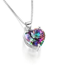 Rainbow Chain Heart Pendant Ladies Necklace New Fashion Mystery Silver Necklace  - $9.98