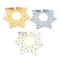 3 Pcs Cotton Waterproof Baby Bibs 360 Degree Rotation, Stars - $13.99