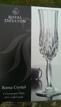 "ROYAL DOULTON 4 CHAMPAGNE FLUTE ""ROMA"" 24% LEAD CRYSTAL MADE IN ITALY CLEAR NEW. - $119.30"