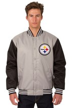 NFL Pittsburgh Steelers Poly Twill Jacket Charcoal Black  Patch Logo JH Design - $99.99