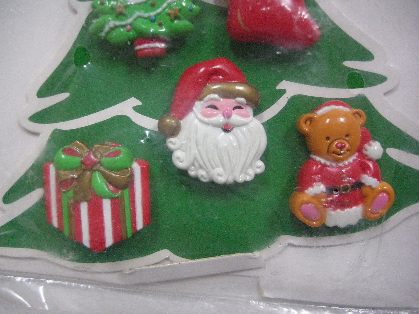 Christmas Novelty Button Cover Avon 12 Tree Stocking Present Snowman Santa Bear