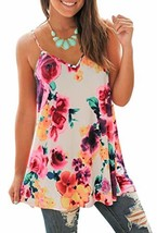 PINKMILLY Womens Summer Sleeveless V Neck Floral Print Camisole Tanks To... - $18.40