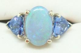14K Gold 2.33ct Black Genuine Natural Opal Ring with Trillion Tanzanites (#2449) - $897.75