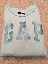 Girl's Gap Kids Long Sleeve Sequin Logo Aqua Sweatshirt (S) image 5