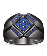 14k Black Gold Finish 925 Sterling Silver Blue Sapphire Mens Anniversary... - $98.99