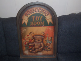 Extremely Rare! Walt Disney Pinocchio Toy Room Old Wooden 3D Wallboard - $127.49