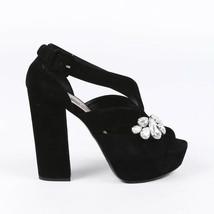 Miu Miu Crystal Suede Platform Sandals SZ 37.5 - $205.00