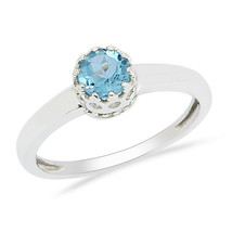 Round Cut Blue Topaz Gemstone 925 Silver Solitaire Crown Set Stack Women... - $18.81