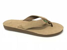 SANUK Fraid Suede Flip Flop Sandals Tan Men's SSMS11132 Tan Yoga Mat Cus... - $29.99