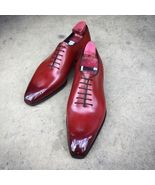 Men's Oxford Maroon Red Burnished Medallion Toe Genuine Leather Lace up ... - $99.90+