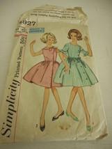 Vintage 1950s  Simplicity Size 14 1/2 girls 4927 uncut pattern dress bus... - $15.83
