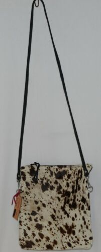 Cheyanne Medium Crossbody Clutch Cowhide Cream Tan Dark Brown Cow Print