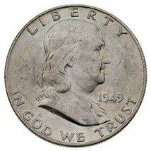 1949-D 50C Franklin Demi Dollar En Choix Bu État Avec Fbl , Excellent Lu... - $63.90