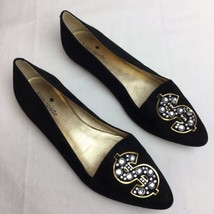 Kate Spade 6 M Black Suede Flat Loafers Dollar Sign Flats Shoes RARE - $186.99