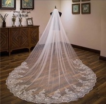 White Or Ivory 3M/10 Ft Cathedral Veil With Comb - $47.52