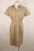 Ann Taylor Loft Sz 2 Brown Short Sleeve Shirt Dress 100% Cotton - $19.79