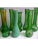 Vintage Green Bud Vases wedding parties and home decor - $25.00