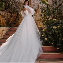 New Vintage Celeb Fashion Removable High Neck Long Sleeve Bolero A Line Lace Bea image 2