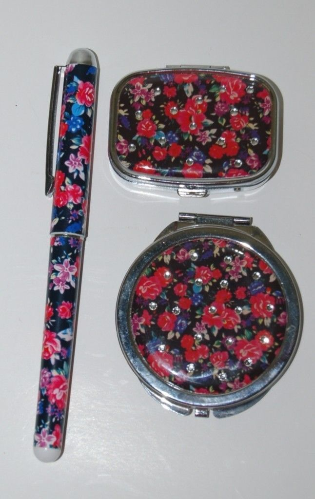 Pretty Tools 3 Set Ball Point Pen Pill Box Mirror Compact Black Floral