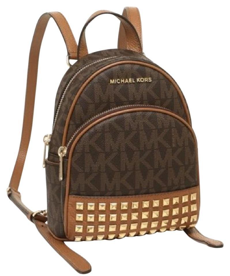 5737d889cd34c4 ... cheap michael kors abbey mini backpack crossbody stud brown signature  acorn xsmall b1d78 f1da4