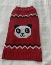 Red Black White Panda Bear Design Design Dog Sweater Warm Winter Wear ME... - $10.99