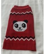 Red Black White Panda Bear Design Design Dog Sweater Warm Winter Wear ME... - $11.49