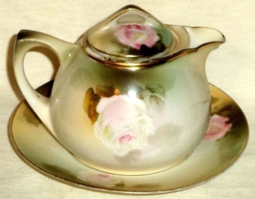Handpainted RS Prussia Lidded Creamer Underplate Roses Gold Gild 1911-WW II