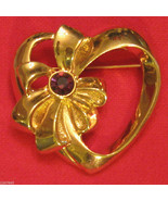Avon Birthstone Heart Pin CHOICE Gold Plated Heart w/ Bow Lapel Brooch V... - $19.76