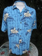 Hawaiian ALOHA shirt M 23 pit to pit CARIBBEAN JOE rayon tropical flower... - $14.69